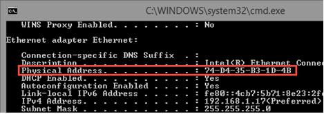 Windows - Find Mac Address - LNGS